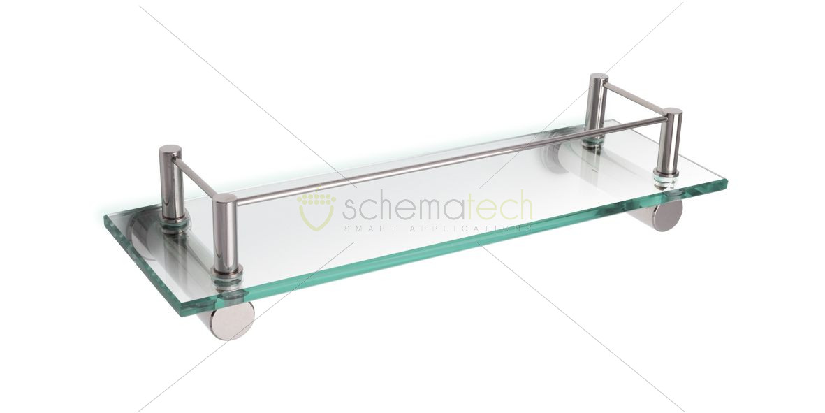 Wall Mounted Glass Vanity Shelf - Stainless Steel Accessories ...